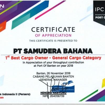 1st  Best Cargo Owner 2018 with PT Pelabuhan Infonesia II ( persero ) Cabang Banten