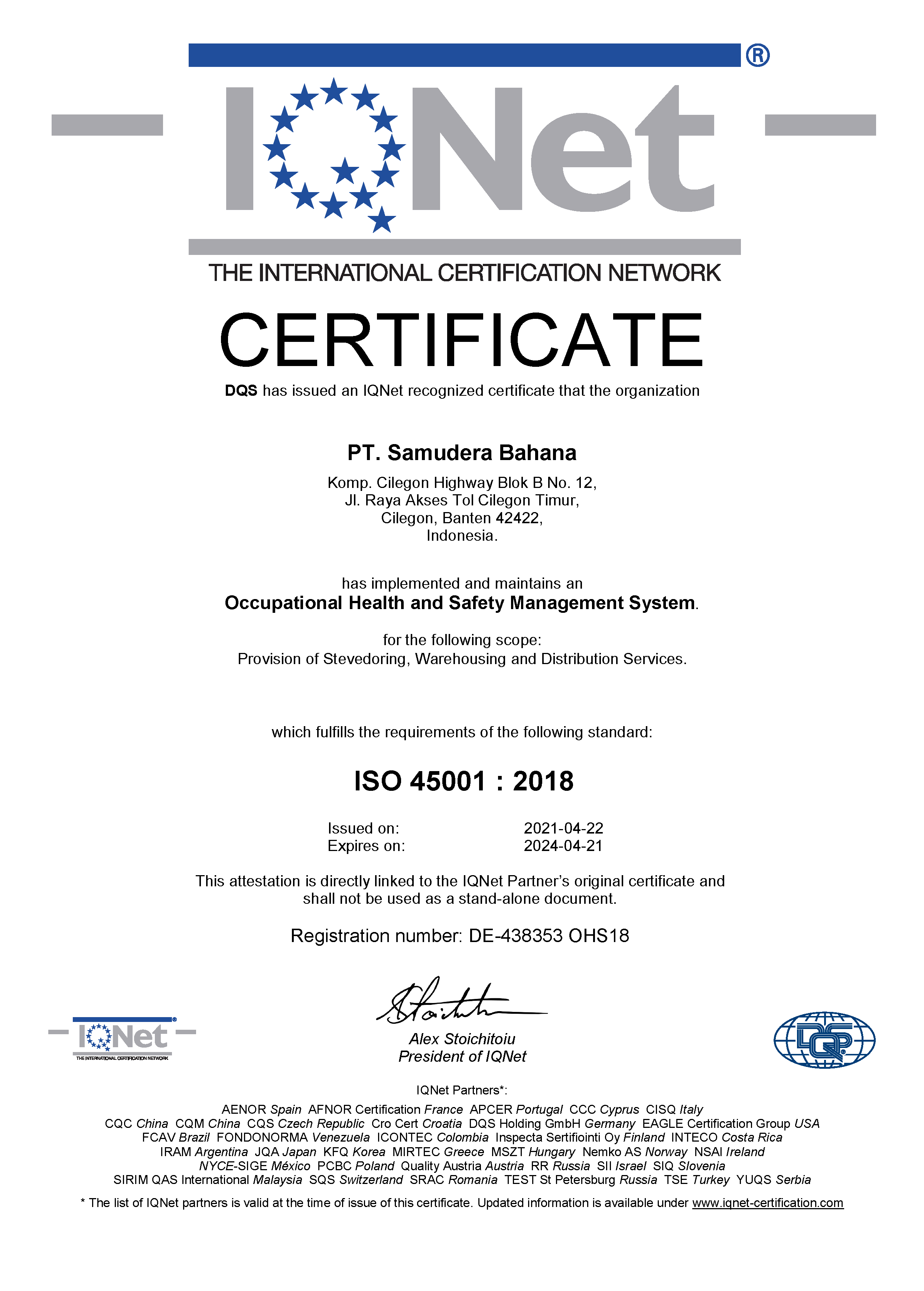 IQNET ISO 45001:2018